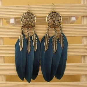 Feather Dream Catcher Earrings Native American B19